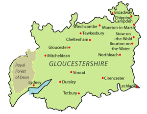 Landkaart Gloucestershire JPG